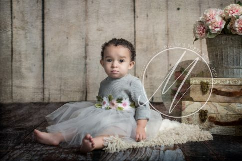 Sweet Baby Girl on Off White Plan Backdrop