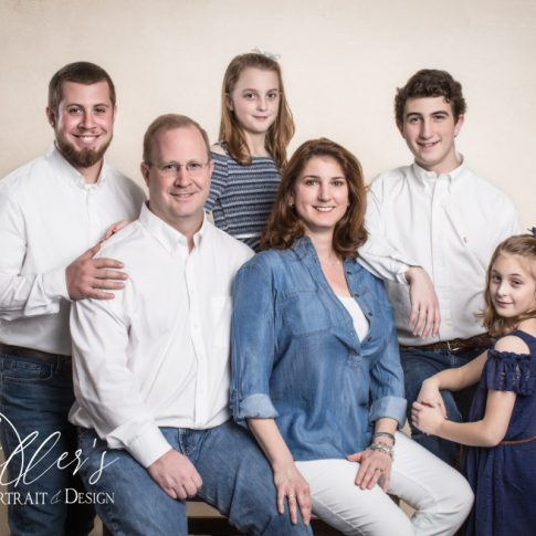 Simpe Family Portrait on Creme Backdrop