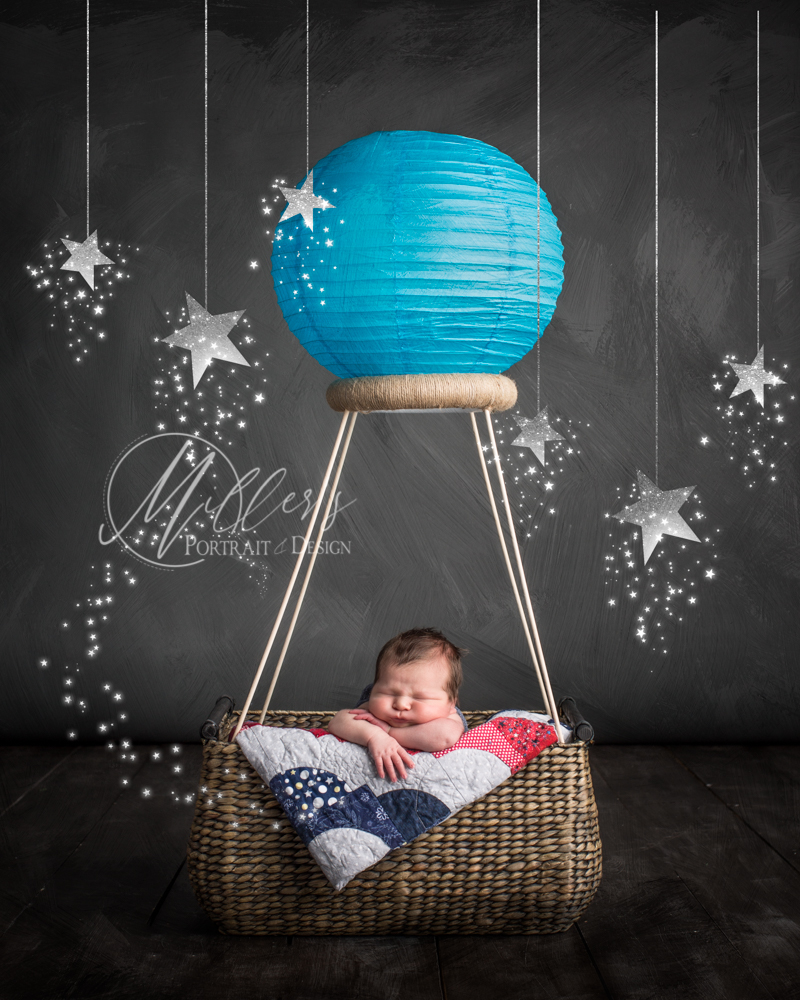 Hot air balloon in wicker basket