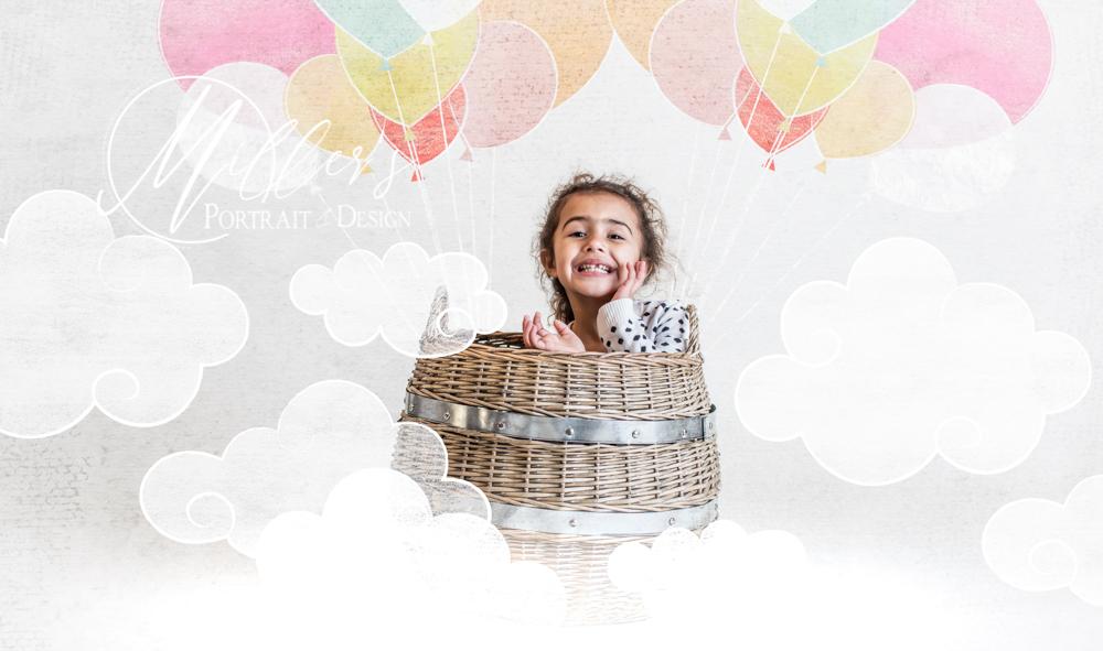 Little Girl in Wicker Basket