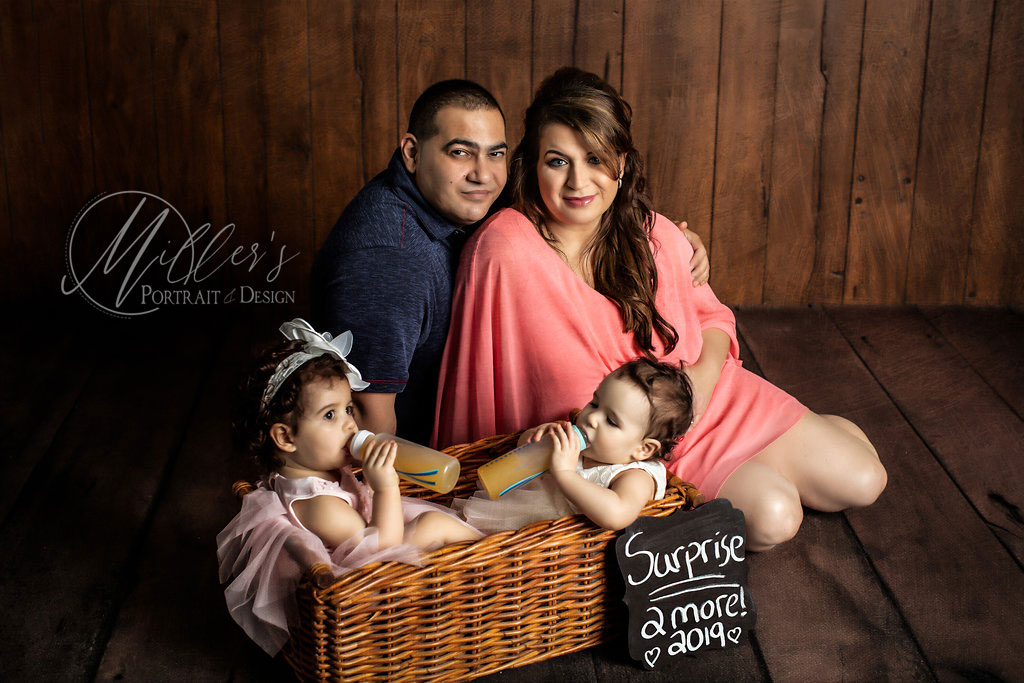 Maternity Portrait with Twins and Wicker Basket