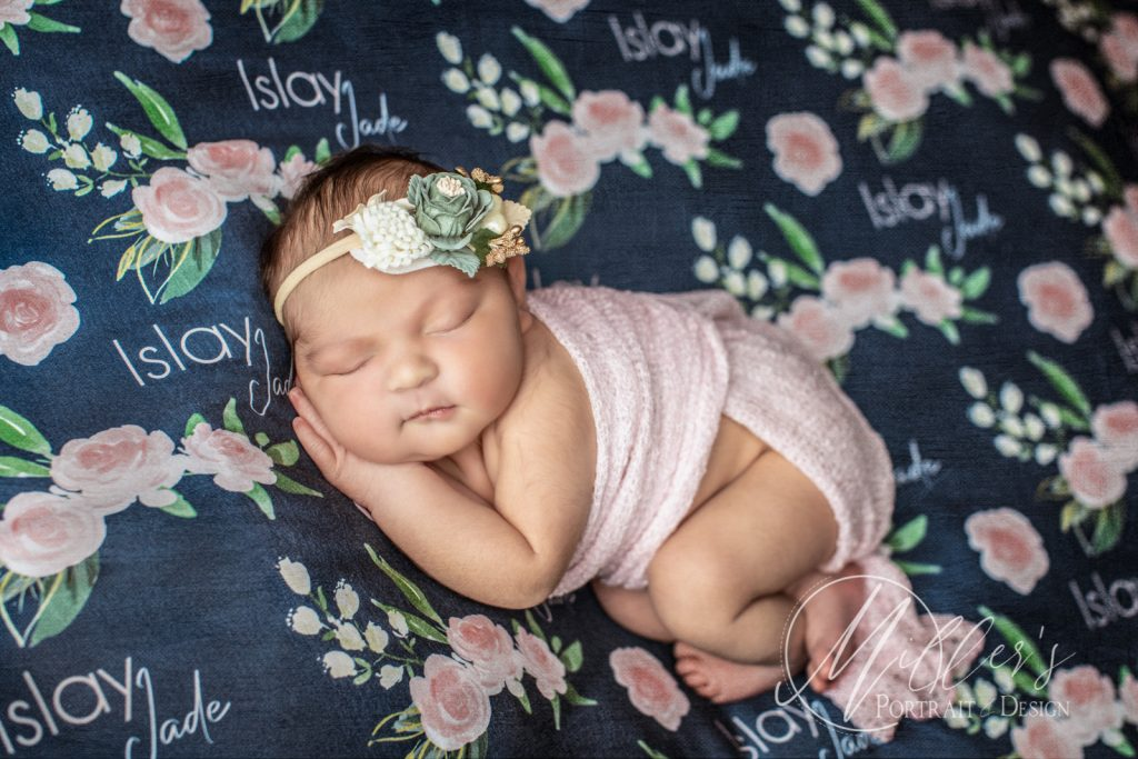 Newborn Portraits With Personalized Swaddle Blankets