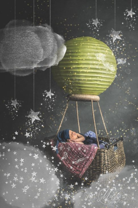 Newborn Portrait with Hot Air Balloon and Wicker Basket