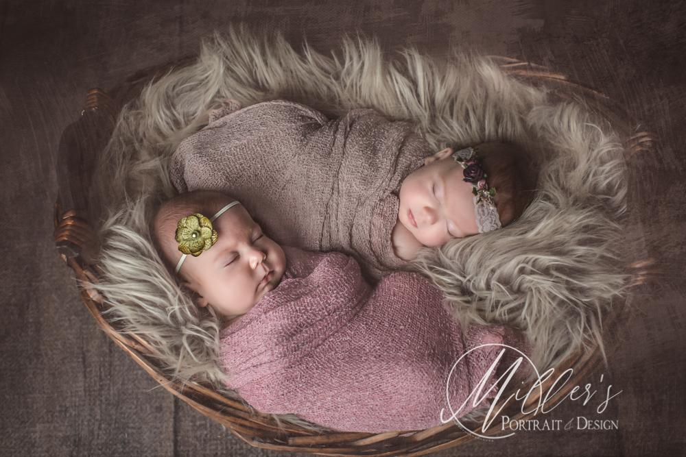 Newborn Twins Portrait in Wicker Basket